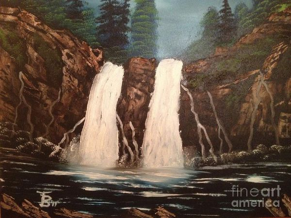 bob ross deep woods waterfall posters