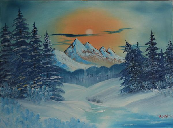 bob ross frozen winter 85939 painting