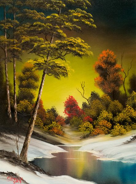 bob ross golden sunset paintings