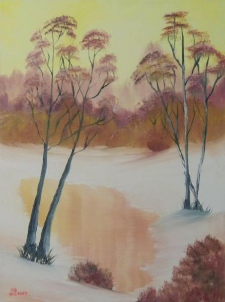 bob ross golden winter morning 86034 painting
