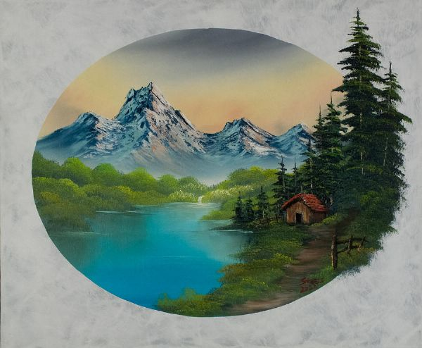 bob ross haven in the valley oil painting