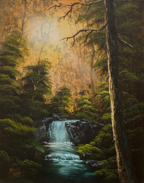 bob ross hidden brook oil painting