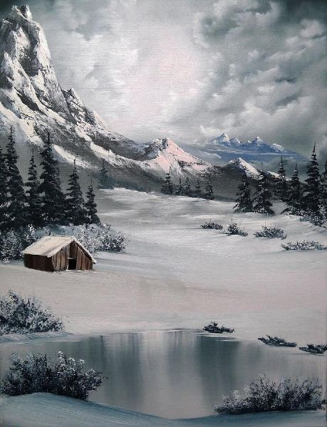 bob ross lonely cabin paintings