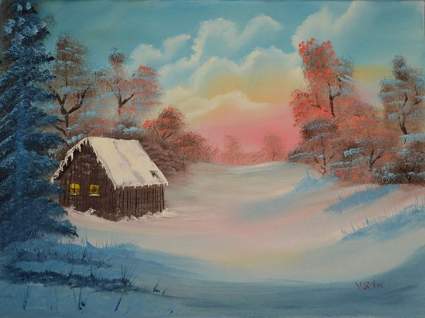 bob ross lonely retreat paintings