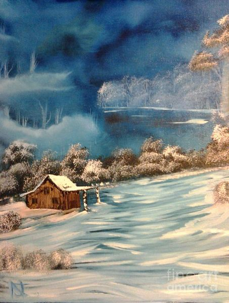 bob ross misty winter nick 86078 painting