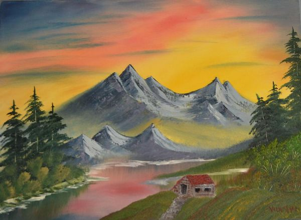 bob ross mountain at sunset 85959 painting