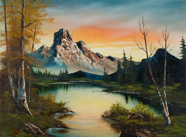 bob ross mountain at sunset paintings