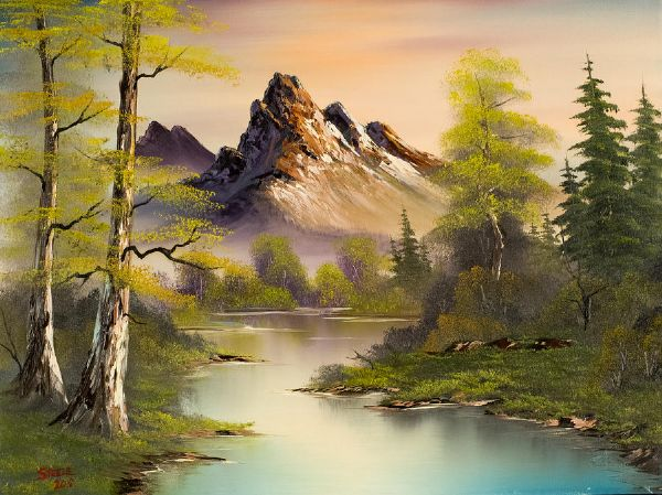 bob ross mountain splendor paintings