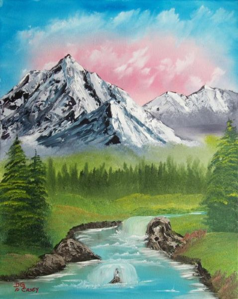 bob ross mountain stream paintings