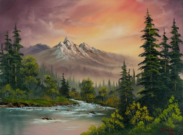 bob ross mountain sunset paintings