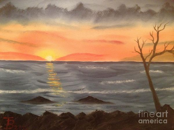 bob ross ocean at sunset 86106 painting