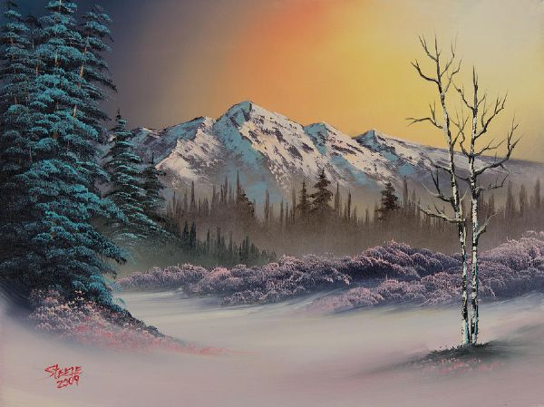 bob ross pastel winter paintings
