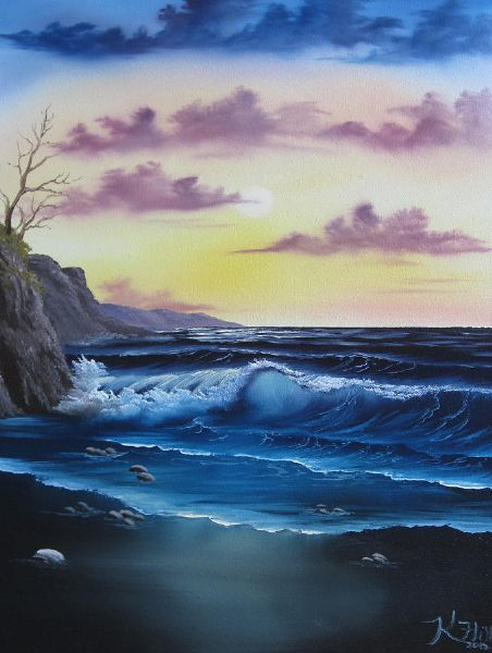 bob ross seascape sunset oil painting