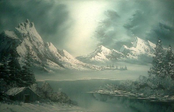 bob ross stormy winter 86141 painting
