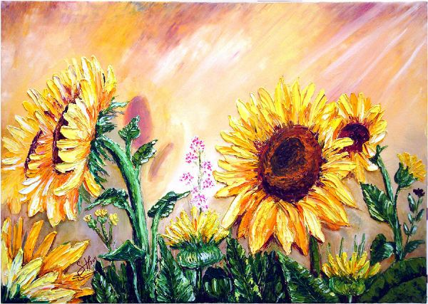 bob ross sunflowers painting
