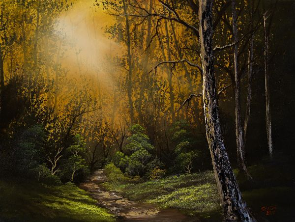 bob ross sunlit trail paintings