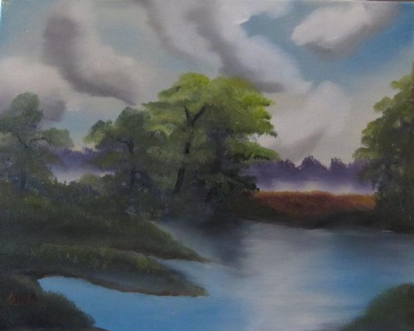 bob ross the little lake painting
