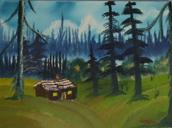 bob ross the lonely cabin paintings
