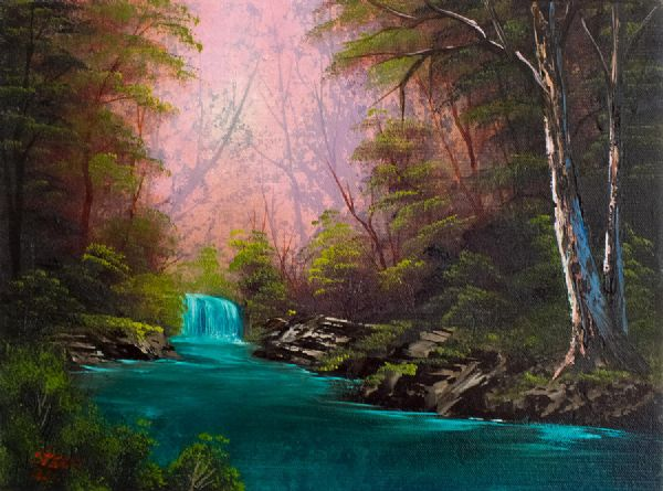 bob ross turquoise waterfall paintings