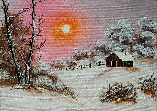 bob ross warm winter day after oil painting