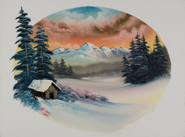 bob ross warm winter oval 86152 painting