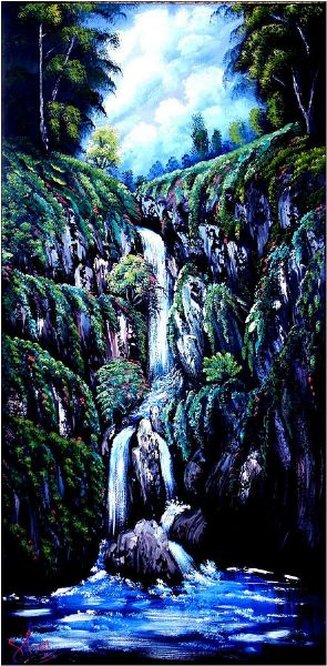 bob ross waterfall oil painting
