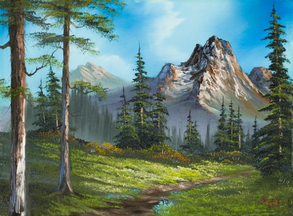 bob ross wilderness trail paintings