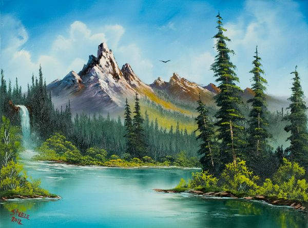 bob ross wilderness waterfall 86158 painting