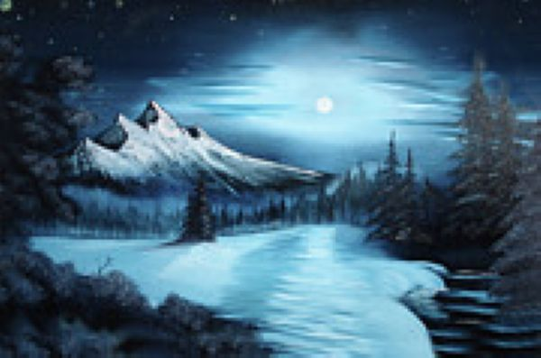 bob ross winter paintings