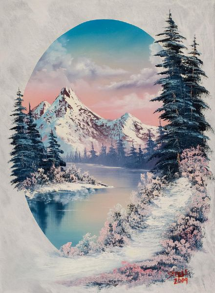 bob ross winter paradise oval paintings