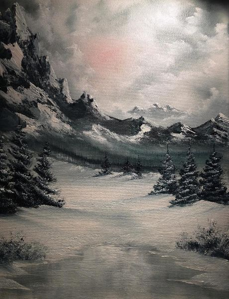 bob ross wintery mountain painting