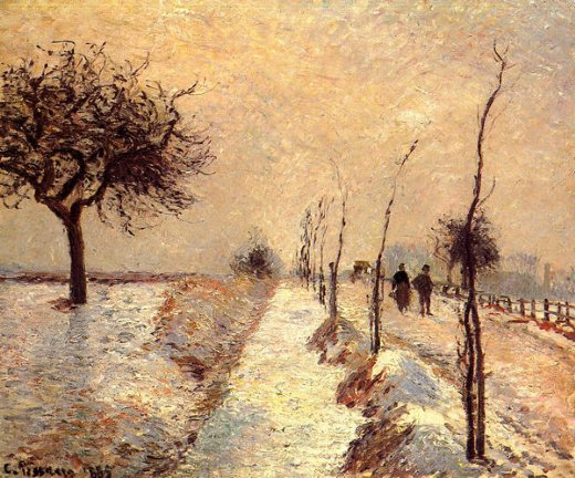camille pissarro road at eragny winter painting