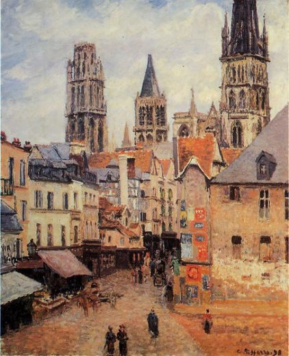 camille pissarro rue de l eppicerie rouen morning grey weather painting
