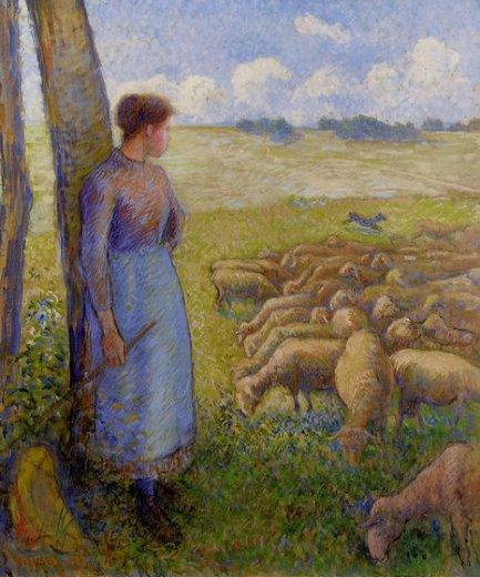 camille pissarro shepherdess and sheep paintings
