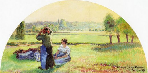 camille pissarro siesta in the fields painting