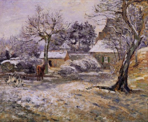 camille pissarro snow at montfoucault painting