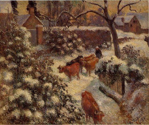 camille pissarro snow effect in montfoucault painting