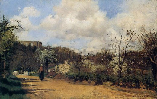 camille pissarro springtime in louveciennes painting