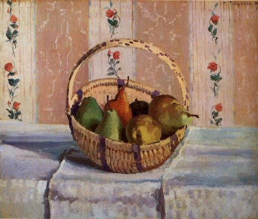 camille pissarro still life apples and pears in a round basket prints
