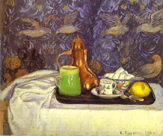 camille pissarro still life with a coffee pot painting