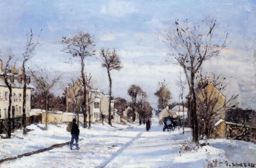 camille pissarro street in the snow louveciennes painting