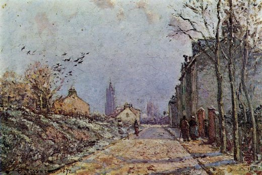 camille pissarro street snow effect paintings