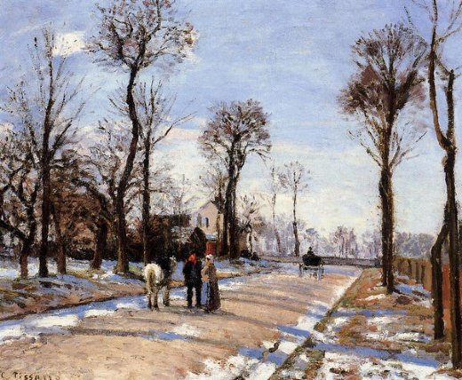 camille pissarro street winter sunlight and snow painting