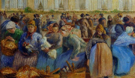 camille pissarro the egg market paintings