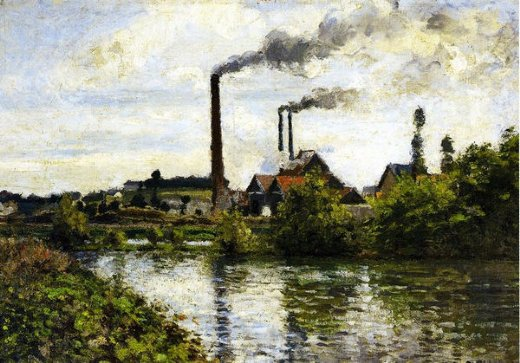 camille pissarro the factory at pontoise paintings