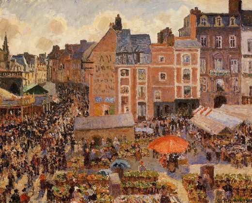 camille pissarro the fair dieppe sunny afternoon paintings