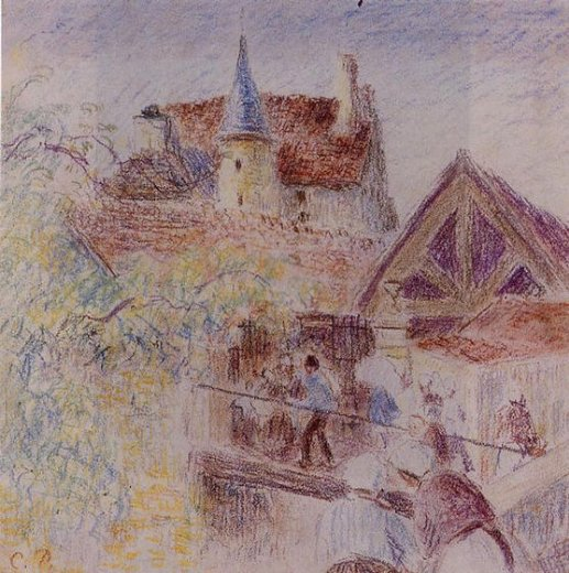 camille pissarro the farm osny painting