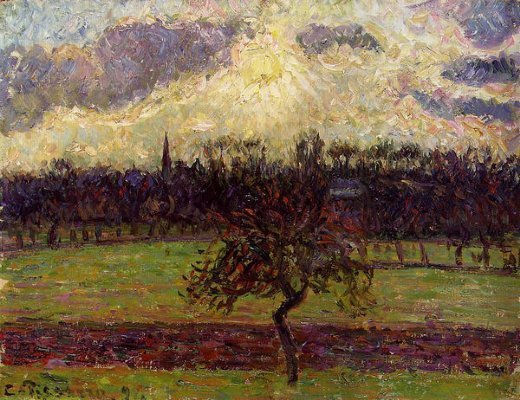 camille pissarro the fields of eragny the apple tree painting