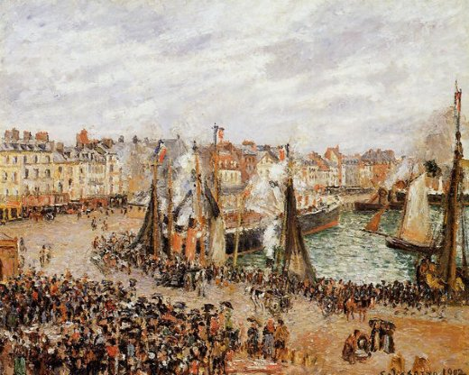 camille pissarro the fishmarket dieppe grey weather morning painting