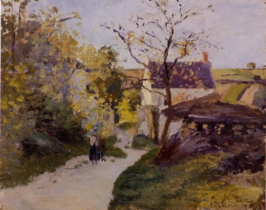 camille pissarro the large walnut tree at l hermitage paintings
